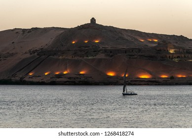 Nile Aswan and the West Bank with Tombs Old Kingdom Qubbet el-Hawa - 'Dome of the Winds' at the crest of the hill