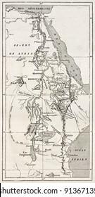Nile basin old map. By unidentified author, published on Le Tour du Monde, Paris, 1867