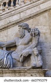Nile God statue in front of the Palazzo Senatorio (Senatorial Palace) at the Piazza del Campidoglio in Rome, Italy