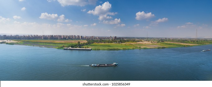 The Nile River in a beautiful cloudy day Southern Egypt