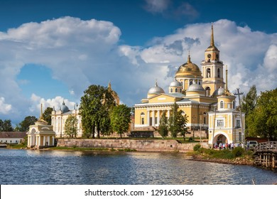 Nilo-Stolobenskaya desert - male Orthodox monastery on an island in lake Seliger. Tver region, Russia