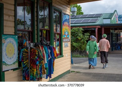NIMBIN, AUSTRALIA â?? JANUARY 26, 2016: An unidentified couple walk together in Nimbin.