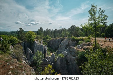 Nimes, Belgium - August 08 2020: Geological formation called Fondry des Chiens near Nimes, Belgium