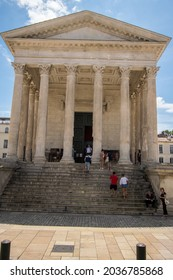 Nimes, France- 7.21.21: La Maison Carree, a well-preserved Roman temple in Nimes, southern France.