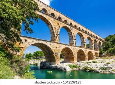Nimes, France. Ancient aqueduct of Pont du Gard.