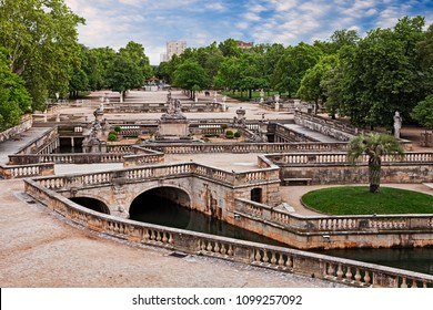 Nimes, France: the ancient Gardens of the Fountain (French: Jardins de la Fontaine), the main public garden of the city and one of the most important gardens in Europe