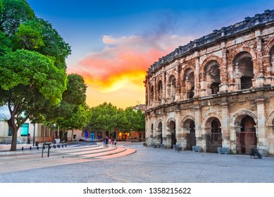 Nimes, France. Ancient Roman amphitheatre in the Occitanie region of southern France.