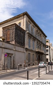 Nimes France July 13th 2015 : Ornately carved extension building found in a sidestreet in the historic centre of Nimes France