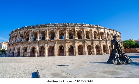 NIMES, FRANCE - JUN 20, 2010: Roman Amphitheater in Nimes, Southern France.