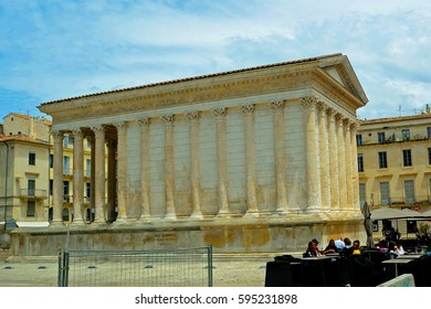 NIMES, FRANCE - JUNE 15 : Roman temple on 15 June 2016. at Nimes, France. Nimes old town is full of ancient building left from the Roman times.