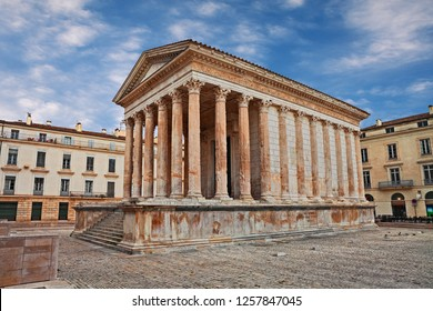 Nimes, France: the Roman Temple Maison Carree, ancient monument built in the 19th century BC