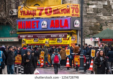 Nimet Abla,Nimet Sister is the oldest national lottery representative of Turkey founded in 1928/ Eminonu,Istanbul,Turkey,12 December 2018