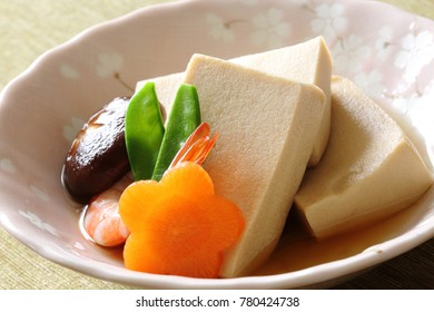 Nimono/freeze dried Koya-tofu simmered, Japanese cuisine
