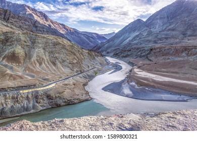 Nimu confluence of river indus and zanskar Ladakh