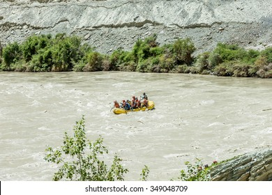 NIMU, INDIA - JULY 30, 2015: Rafting on the Zanskar river. The confluence of the Indus and Zanskar river - Tibet, Leh district, Western Ladakh, Himalayas, Jammu and Kashmir, Northern India
