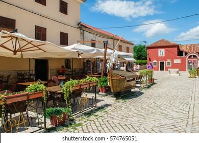 NIN, CROATIA - JULY 30, 2015: Streets of historic city of Nin, Croatia
