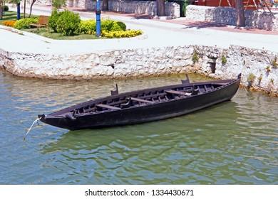 NIN, CROATIA - JUNE 22, 2011: An example of an ancient Condura Croatica, Croatian ship dating back to XI century berthed in Nin lagoon, Croatia