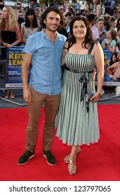 "Nina Wadia and Marc Elliott arriving for the premiere of ""Keith Lemon: The Film"" at the Vue Cinema, Leicester Square, London. 21/08/2012. Picture by: Steve Vas"