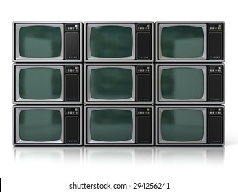 Nine 80s Vintage Portable Television Sets (Color TV) Isolated on White Background. 3D Illustration