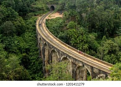 Nine arch bridge Demodara railway track Sri Lanka