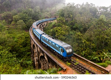 The Nine Arches Bridge Demodara is one of the iconic bridges in Sri Lanka. Morning mist in Ella.