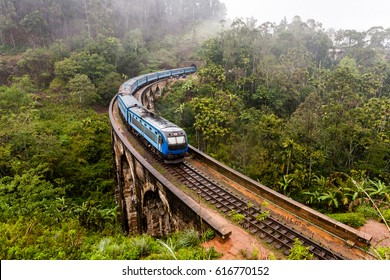 The Nine Arches Bridge Demodara is one of the iconic bridges in Sri Lanka. Morning mist in Ella.