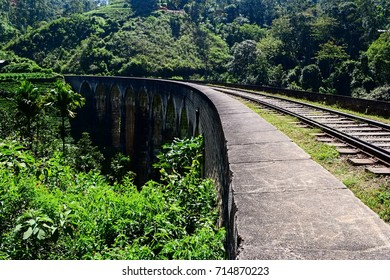 The Nine Arches Bridge in Demodara - one of the most famous old stone bridge in colonial style in Sri Lanka