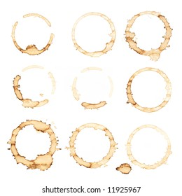 Nine coffee stains isolated over white background