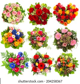 nine colorful flowers bouquet for Birthday, Wedding, Mothers Day, Easter, Anniversary, Holidays. Roses red, pink, yellow