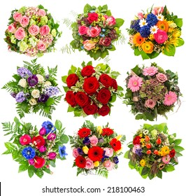 nine colorful flowers bouquet for Birthday, Wedding, Mothers Day, Easter, Anniversary, Holidays