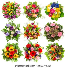 Nine colorful flowers bouquet for Easter Holidays. Floral objects isolated on white background