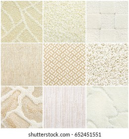 nine different pastel carpet samples, top view