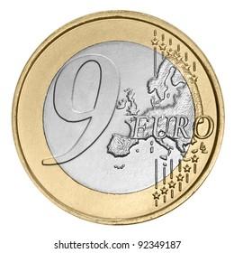Nine euro coin on white