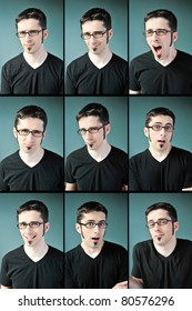 Nine facial expressions of a young man with glasses on a blue background.