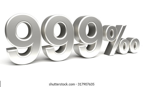 Nine hundred and ninety nine per mill 3D text, with big silver fonts isolated on white background. Rendered illustration.
