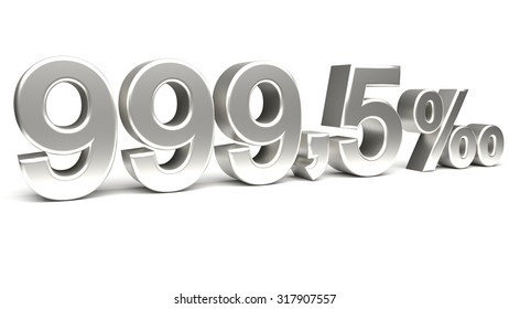 Nine hundred and ninety nine point five per mill 3D text, with big silver fonts isolated on white background. Rendered illustration.