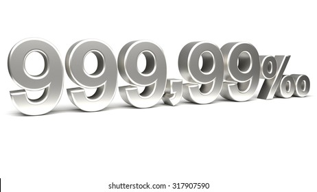 Nine hundred and ninety nine point ninety nine per mill 3D text, with big silver fonts isolated on white background. Rendered illustration.