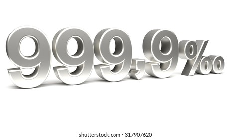 Nine hundred and ninety nine point nine per mill 3D text, with big silver fonts isolated on white background. Rendered illustration.