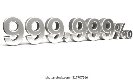 Nine hundred and ninety nine point three nines per mill 3D text, with big silver fonts isolated on white background. Rendered illustration.