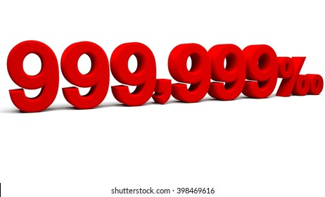 Nine hundred and ninety nine point three nines per mill 3D text, with big golden fonts isolated on white background. 3D rendering.