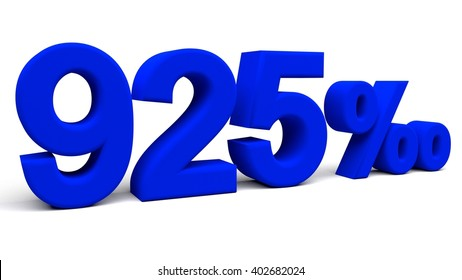 Nine hundred and twenty five per mill 3D text, with big fonts isolated on white background. 3D rendering.