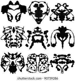 Nine ink blot for psychiatric evaluations.