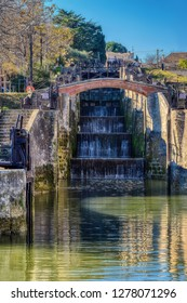The Nine Locks of Fonseranes in Beziers is a UNESCO World Heritage site with a series of stepped locks along the Canal du Midi to navigate the canal levels.