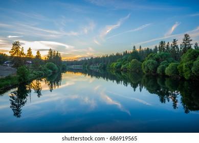 nine mile reservoir on spokane river at sunset
