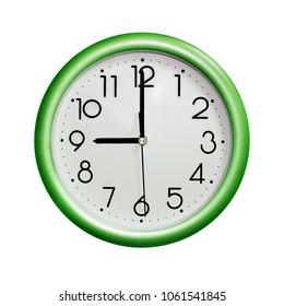 nine o'clock, photo circle green wall clock, on white background, isolated