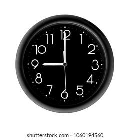 nine o'clock, photo round black clock, on white background, isolated