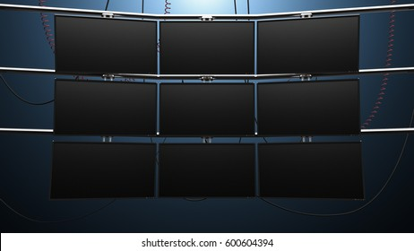 Nine Panel Video Monitor Wall. a futuristic nine panel video wall with blank screens and cords mounted on pipes