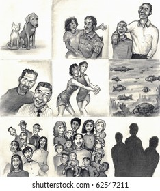 Nine panels of families and friends. Dog, cat. Daughter, step-father. Son, Dad. Gay couple. Two lesbians dancing. Fish, sea life. Latin family. Mixed race families. Three silhouette.