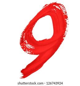 Nine - Red handwritten numerals over white background