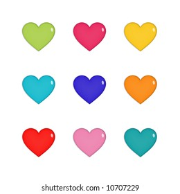 Nine shiny hearts in green, pink, yellow, blue, purple, orange and red, isolated on white